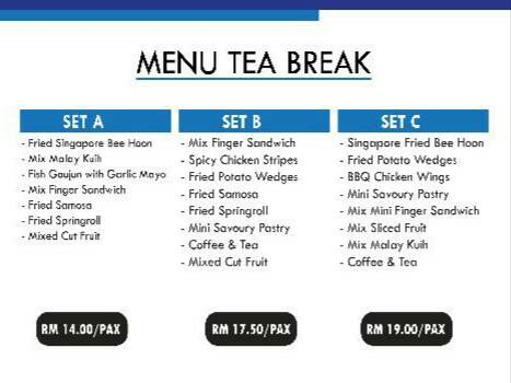 menu tea break